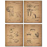 Inventor of the Toilet Bathroom Patent Wall Art Prints - Set of Four Photos