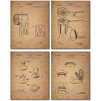 Bathroom Patent Wall Art Prints   Set Of Four Photos