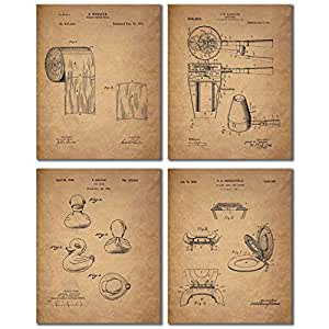 Bathroom patent wall art prints set of four for Bathroom art amazon