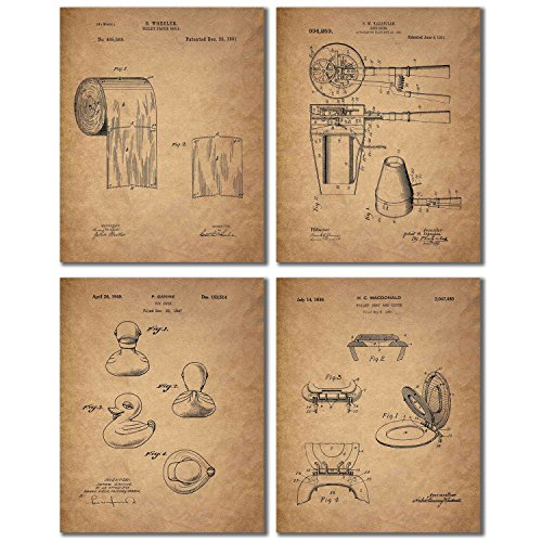 Bathroom Patent Wall Art Prints - Set of Four Photos