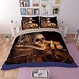 Skull Bedding Set Printing Queen Size Quilt Cover 3 Pcs White Candle Skull Hypoallergia Microfiber Duvet Cover Set Boys Teens Halloween