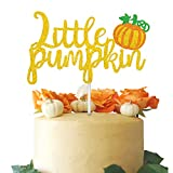 Double Sided Gold Glitter Little Pumpkin Cake Topper for Baby Shower Kid's Birthday Party Fall Party Decor