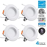 TORCHSTAR 15W 6inch Wet Location CRI90+ Dimmable 90W Equivalent Retrofit LED Recessed Lighting Fixture, Energy Star & ETL Classified Ceiling Light, 5000K Daylight 1250lm Remodel Downlight, 4-PACK