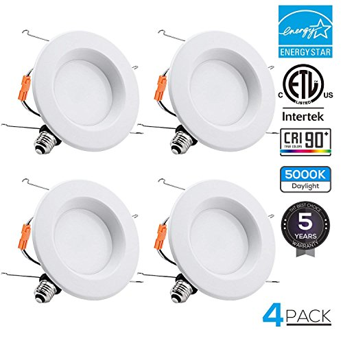 - TORCHSTAR 15W 6inch Wet Location CRI90+ Dimmable 90W Equivalent Retrofit LED Recessed Lighting Fixture, Energy Star & ETL Classified Ceiling Light, 5000K Daylight 1250lm Remodel Downlight, 4-PACK