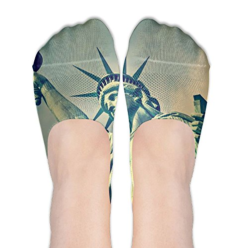 Flame Statue Of Liberty Printing Womens Athletic Compression Low Cut Short Thin Loafers Non Slip Boat Socks For Yoga Train Hiking Cycling Running Sports (Statue Of Liberty Flame)