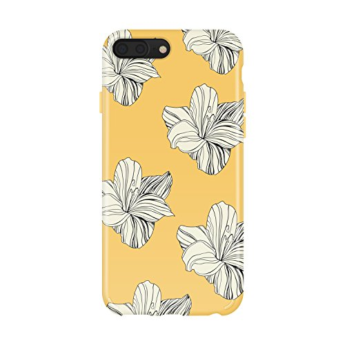 iPhone 8 Plus / 7 Plus case Flower, Akna Collection Flexible Silicon Cover for both iPhone 7 Plus & 8 Plus [Retro Yellow Floral](1248-U.S) -