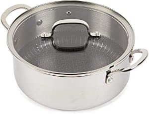 Copper Chef Titan Pan, Try Ply Stainless Steel Non- Stick Pans (7.5 QT Casserole Pan with Lid)