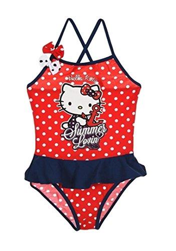 Hello Kitty Badeanzug Kollektion 2016 Badesachen 92 98 104 110 116 122 128 Mädchen Schwimmbekleidung Sommer Neu Rot-Blau (122 - 128, Rot-Blau)