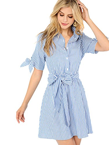 (Romwe Women's Cute Short Sleeve Striped Belted Button Up Summer Short Shirt Dress (X-Small, Blue_2))