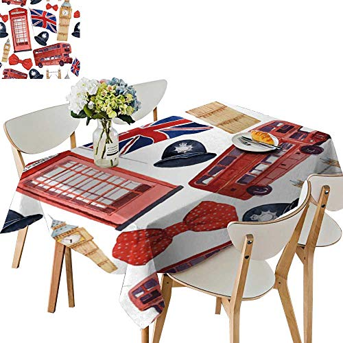 UHOO2018 Printed Fabric Tablecloth Square/Rectangle London Texture Drawn Elements re Phone Booth Ben Wedding Party Restaurant,54 x121inch.