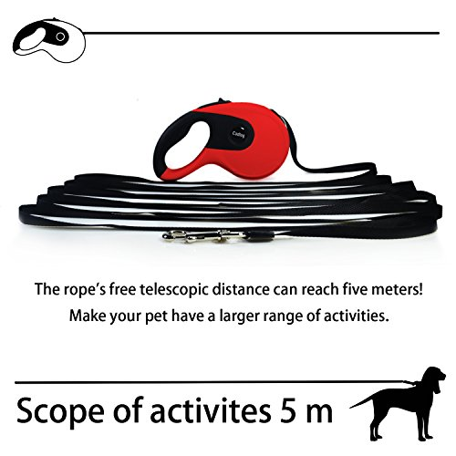 Image of Cadtog Retractable Dog Leash,16 ft Dog Walking Leash for Medium Large Dogs up to 110lbs,One Button Break & Lock, Dog Waste Dispenser and Bags Included (Black&Red)