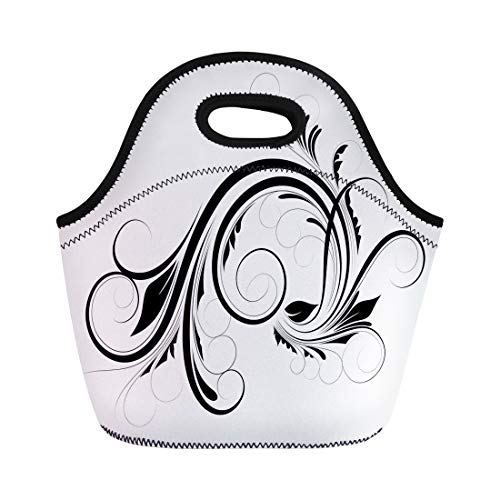 Semtomn Lunch Bags Clipart Black Abstract Swirly Flourish Christmas Drawing Floral Foliage Neoprene Lunch Bag Lunchbox Tote Bag Portable Picnic Bag Cooler Bag