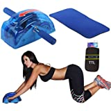 Evana Ab Care Roller Slide Home Gym Equipment With 4 Wheel Gear System And Mat Ab Slimmer With Trusttel Branded Mobile Pouch