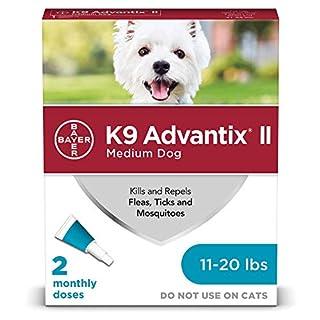 Bayer K9 Advantix II Flea, Tick and Mosquito Prevention for Medium Dogs, 11 - 20 lb, 2 doses