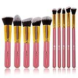 FEIYAN Makeup Brushes Set Premium Synthetic Cosmetic Set Professional Liquid Foundation Face Eyeliner Blush Contour Powder Brushes Kit (10 pcs, Golden Pink)