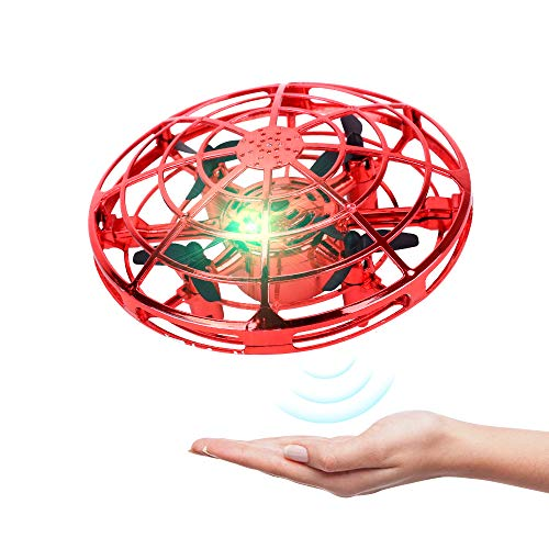 Kids Drones Hand Operated Drones Flying Ball Mini Drone Helicopter for Kids and Adults Drone Toys with 360 Rotating and Shinning LED Lights Flying Toys for Boys or Girls (Red) from KP