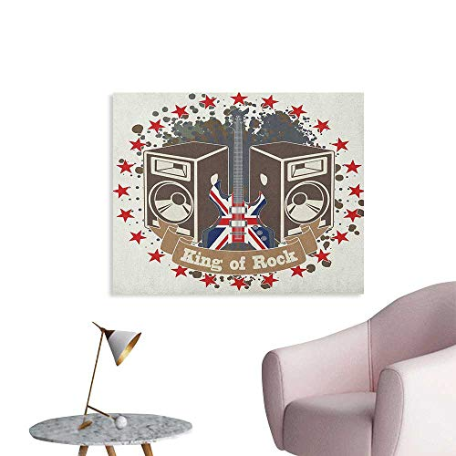 Anzhutwelve Popstar Party Corridor/Indoor/Living Room King Rock Label with Speakers Stars and Electric Guitar with British Flag Poster Paper Multicolor W36 xL32