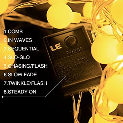 LE Globe String Lights with Remote Control, Waterproof 8 Modes Lighting Fairy Twinkle Light Bulb For Garden Patio Party Wedding Christmas Tree Décor
