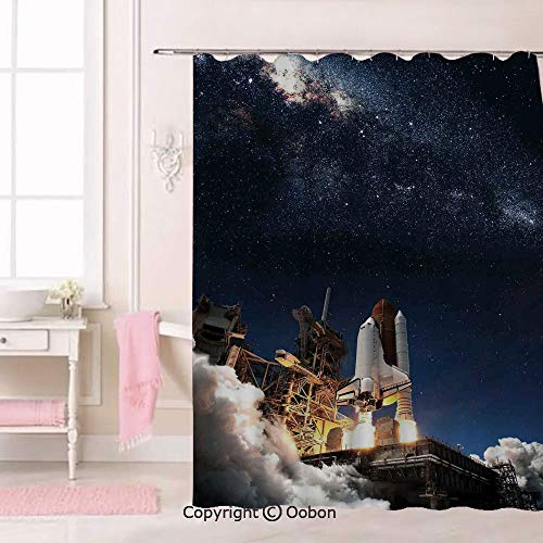 Oobon Shuttle on Take Off Discovery Mission to Explore Galaxy Spaceship Solar Adventure, Fabric Bathroom Decor Set with Hooks, 84 Inches Extra Long -