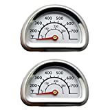 Uniflasy (2-Pack Stainless Steel Repair Replacement Part Temperature Gauge Heat Indicator for Select Charbroil and Kenmore Gas Grill Models