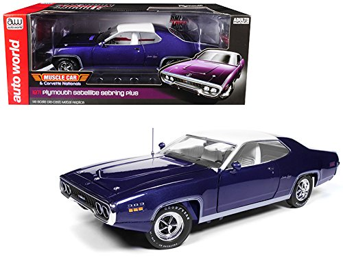 Autoworld 1971 Plymouth Satellite Sebring Plus MCACN Purple White Roof Limited Edition to 1002 Pieces Worldwide 1/18 Diecast Model Car