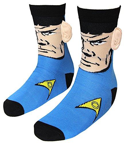 Star Trek Spock with Ears Crew Socks, Blue, Sock Size 10-13, Shoe Size 6-12  from Star Trek