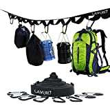 LAMURO Outdoor Camping Lanyard(with 8 Hooks)| Campsite or Garden Supplies Storage Strap with Hooks | Hang Your Camping Gear from a Tree | Vertical or Horizontal Organizer