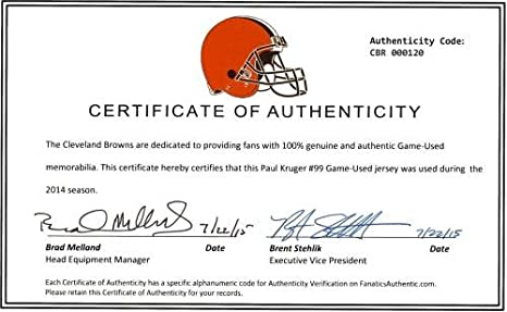 57561ada031 Amazon.com  Paul Kruger Cleveland Browns Game-Used  99 White Jersey from  2014 Season - 2 - Fanatics Authentic Certified  Sports Collectibles