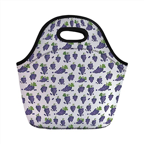 Neoprene Lunch Bag,Grapes Home Decor,Cute Fruit Icons Patterned Juicy Organic Yummy Cottage Sweet Design,Purple Green,for Kids Adult Thermal Insulated Tote Bags ()