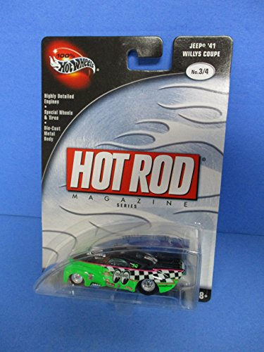 2002 100% Hot Wheels Hot Rod Magazine Series Jeep '41 Willys Coupe Moon Goodyear 41 Willys Coupe Hot Rod