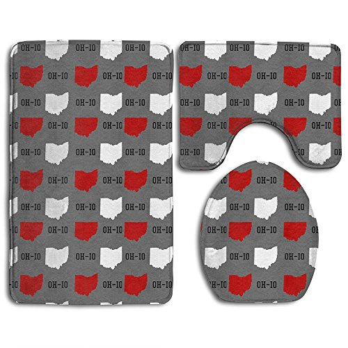 Oh-Io State Gray 3-Piece Soft Bath Rug Set Includes Bathroom Mat Contour Rug Lid Toilet Cover Home Decorative Doormat (Ohio State Bathroom)