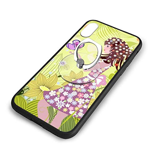 iPhone X Plus Cover Flower Fairy Elf Case with Finger Ring Stand XS Phone Kickstand Holder Shock Protective Basic Protector -