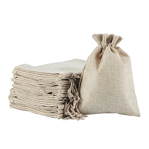 NBEADS 100PCS Burlaps Drawstring Bags, Jute Packing Storage Linen Jewelry Pouches Sacks for Wedding Bridal Shower Birthday Party Christmas Valentine's Day DIY Craft, 7x5 Inch (Brocade Bridal Shower)