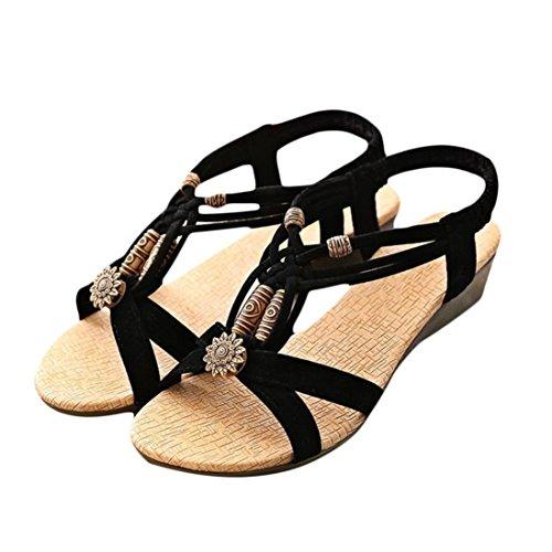 Women Sandal Euone Summer Casual Peep-toe Flat Buckle Roman Shoes (Black, 40)