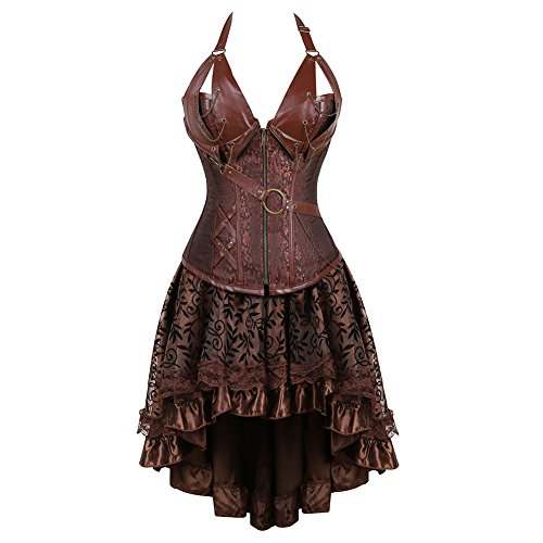 frawirshau Women's Steampunk Costume Corset Dress Halloween Costumes Steam Punk Gothic Overbust Brown Corset and Skirt Set S -