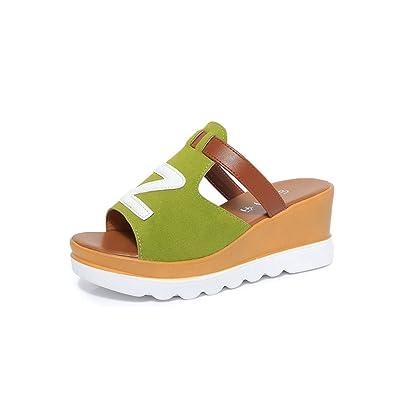 SHINIK Femmes Chaussures Printemps Et Été Nouveau Dessous Plat Gâteau Plat Augmenter Casual Épais Sandales et Pantoufles Femmes