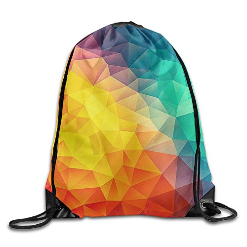 CUW BBCUW Colorful Retro Geometric Gem Triangle Abstract Rainbow Durable Drawstring Backpack Workout Sackpack For Men & Women School Travel Bag ()