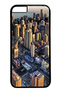 Chicago aerial view PC Case Cover for iphone 4 4s inch Black