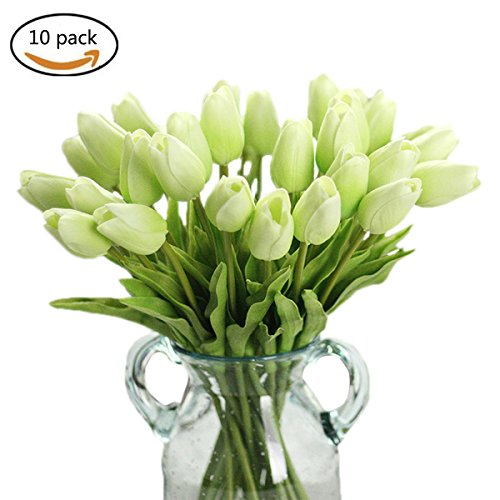 Takefuns 10 Pieces/Bag PU Holland Mini Tulip Artificial Flower Real Touch for Wedding,Room,Home,Hotel,Party Decoration and Valentine's Day Holiday Gift (Green)