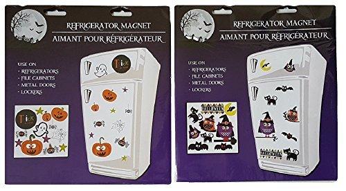 Halloween Magnets Pumpkins, Spiders, Ghosts, Owls & Bats - Two Sheets (Halloween Decorations Garage Door)