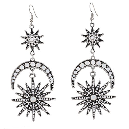 HSWE Crystal Burst Layered Earrings Star and Moon Dangle Ear Hook Crystal Drop Earrings for Wedding Party Bridal (Antique Silver)