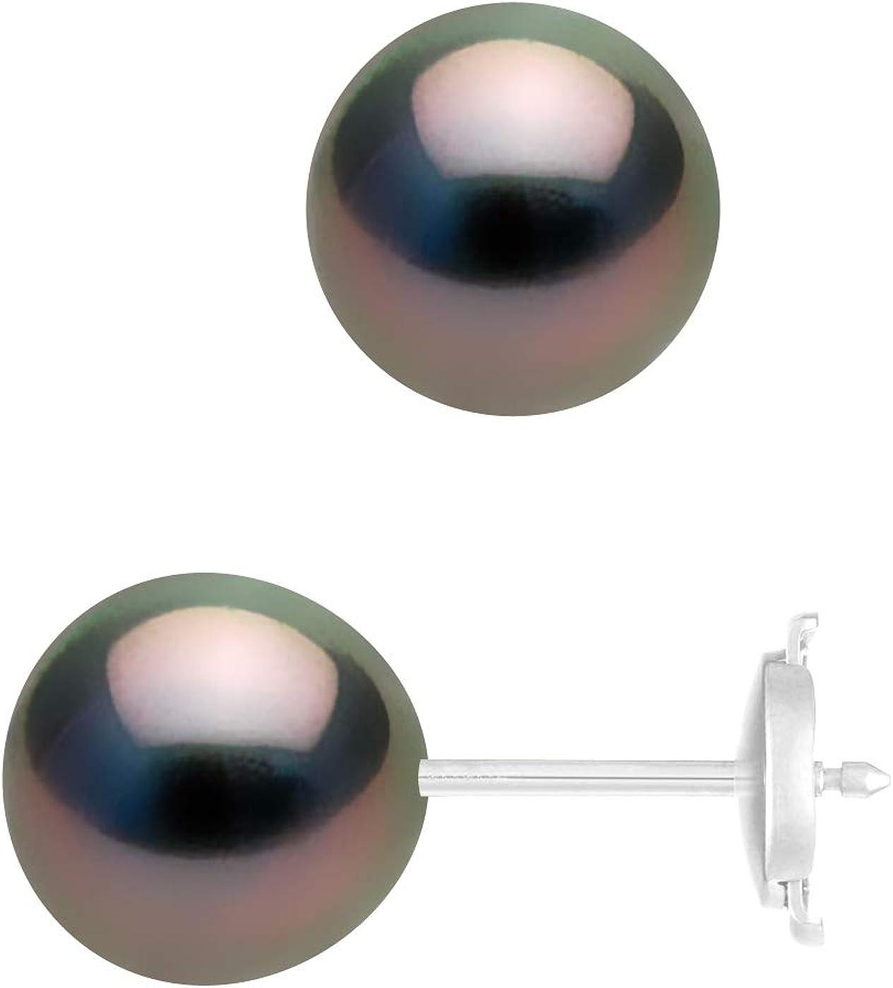 Argent Massif 925 Milli/èmes Bijou Femme Parure Joaillerie Prestige Pearls /& Colors V/éritable Perle de Culture d Douce Collier Boucles doreilles