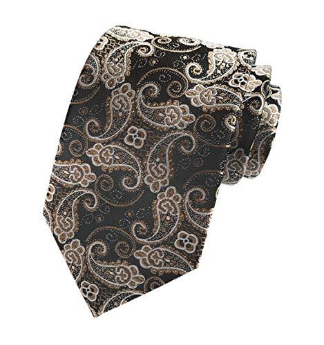 Men's Bronze Brwon Black Novelty Woven Silk Clip on Tie Business Formal Neckties