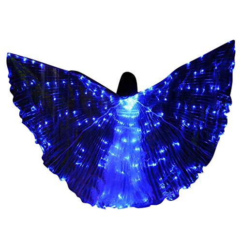 FEDULK Womens LED Wings Belly Dance Performance Costumes Colorful Butterflies Wings with Telescopic Stick(E)