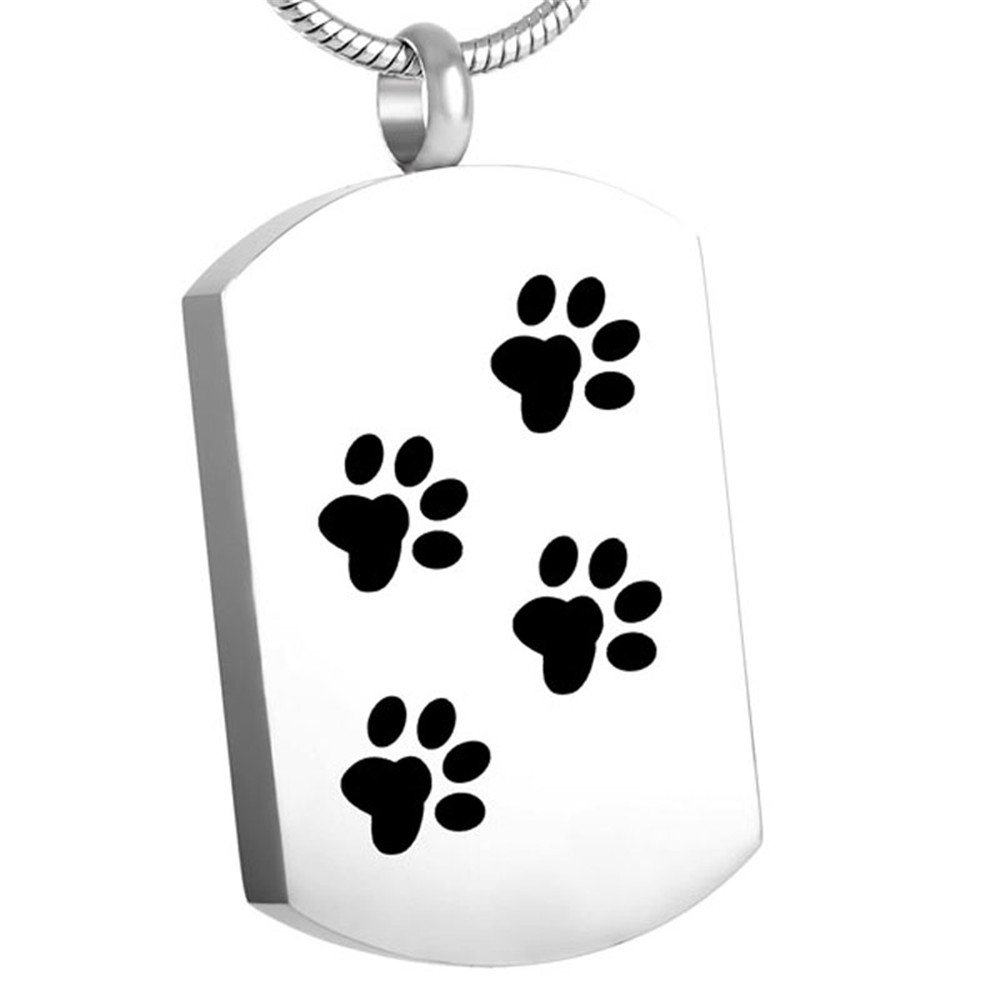 Etching Dog/Cat Paw Print & Rectangle Memorial Urn Jewelry Hold Pet Cremation Ashes Necklace