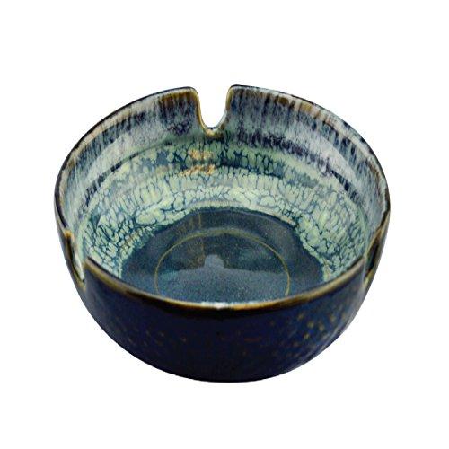 Designer Ashtray - Ashtray Glazed Designer Ceramic Beautifully Handcrafted Cigarette Cigar Ashtray (Ocean)
