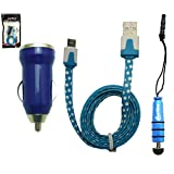 Emartbuy® Polka Dots Range Trio Pack For BLU Studio 5.0 C HD / BLU Studio 6.0 HD - Blue USB Car Charger + Blue Mini Stylus + Polka Dots Blue / White Flat Micro USB Cable