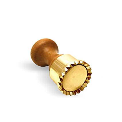 Round Ravioli Cutter Stamp Festooned 50mm Diam Wood And Brass