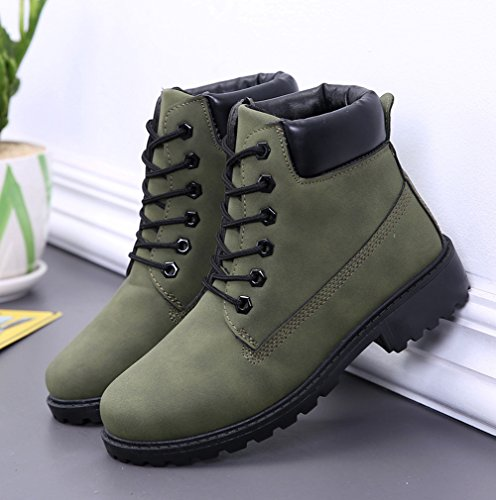 Maybest Combat Biker Shoes Boots Lace Green Short Tops Hiking Unisex Work Trail Retro Ankle Up Chelsea Martin High UErUSq
