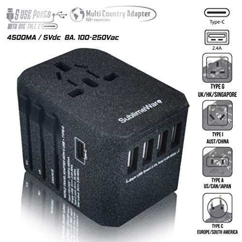 USB Type C Travel Power Plug Adapter (Sand Black) - 5 USB Ports (4 USB Type A + 1 USB Type C) Wall Charger - for Type I C G A Outlets 110V 220V A/C - 5V D/C - EU Euro US UK - European Adaptor
